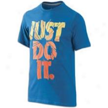 Nike Just Do It Shatter S/s T-shirt - Big Kids - Storm Blue/team Orange