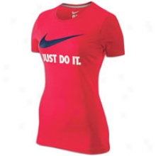 Nike Just Do It Swoosh S/s T-shirt - Womens - Scarlet Fire/loyal Blue