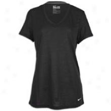 Nike Loose Tri Blend V-neck T-shirt - Womens - Black/white