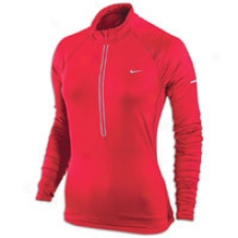 Nike L/s Denier Half-zip Top - Womens - Scarlet Fire/reflective Silver