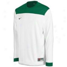 Nike L/s Shoot Around Ii Shirt - Mens - White/dark Green/dark Green