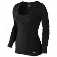 Nike L/s Waffle Henley - Womens - Black