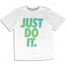Nike Patterned Just Do It S/s T-shirt - Big Kids - White