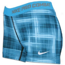 "Nike Pro Combat 2.5"" Comp Print Short - Womens - Chambray Blue/white"