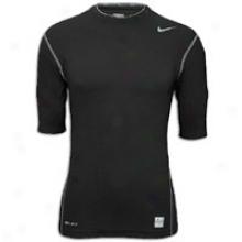 Nike Pro Combat Comprsssion 1/2 Sleeve - Mens - Black/cool Grey