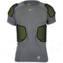 Nike Pro Combat Hi-vis 5 Pad S/s Top - Mens - Grey/voltt