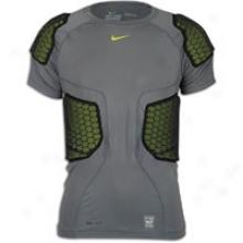 Nike Pro Combat Hi-vis 5 Pad S/s Top - Mens - Grey/voltt