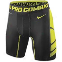 "Nike Pro Combat Hypercool Cop 6"" Near - Mens - Black/bright Cactus"