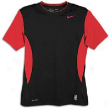 Nike Pro Combat Hypercool S/s Crew - Mens - Black/vwrsity Red