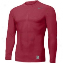 Nike Pro Combat L/s Basic Tight Crew - Mens - Team Maroon