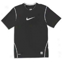 Nike Pro Combat Swoosh Fitted S/s Youth Crew - Big Kids - Black/white