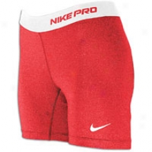 """Nike Pro Core 5"""" Compression Short - Womens - Sport Red/white"""