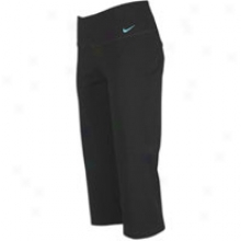 Nike Steady Dri-fit Cotton Capri - Womens - Black/tide Pool Blue