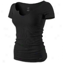 Nike Ribbed Solid Notch S/s T-shirt - Womens - Black
