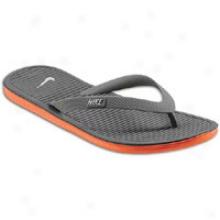 Nike Solarsoft Thong Ii - Mens - Midnight Fog/safety Orange/wolf Grey