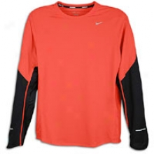Nike Socket L/s T-shirt - Mens - Max Orange/black/reflective Silver