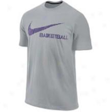 Nike Swoosh Basketball T-shirt - Mens - Wolf Grey/club Purple