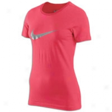 Nike Swoosh S/s T-shirt - Womens - Light Voltage Cherry/dark Grey Heather