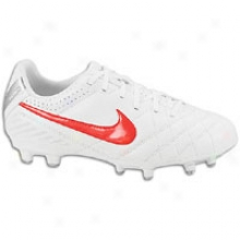 Nike Tiempo Natural Iv Fg - Big Kids - White/metallic Silver/siren Red