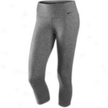 Nike Tight Dri-fit Cotton Capri - Womens - Charcoal Heather/black