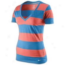 Nike V-neck Stripe S/s T-shirt - Womens - Light Wild Mango/loyal Blue
