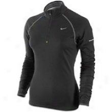 Nike Wool Dri-fit 1/2 Zip - Womens - Black/stealth/reflective Silver