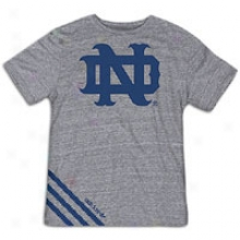 Notre Dame Adidas College Big Stripes T-shirt - Mens - Grey/royal