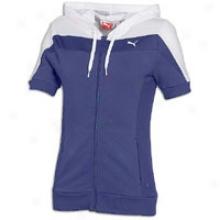 Puma Active S/s Full Zip Hoodie - Womens - Navy Blue/white