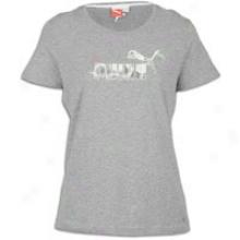 Puma Large Logo T-shirt - Womens - Athletic Grey Heather/white