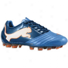 Puma Powercat 1.12 Fg - Mens - Metallic Blus/black Iris/white/orange.com