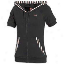 Puma Short Slseve Full Zip Hoodie - Womens - Black/hot Coral