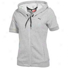 Puma S/s Zip Hooded Jacket - Womens - Athletic Grey Heather