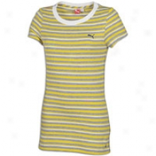 Puma Striped S/s T-shirt - Womens - Athletic Grey Heather