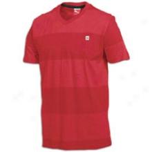 Puma Striped V-neck Pocket S/s T-shirt - Mens - Ribbon Red