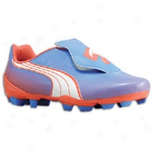 Puma V4.11 Fg - Womens - Palace Blue/white/hot Coral