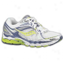 Saucony Hurricane 13 - Womens - White/purple/citron