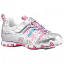 Skechers Bella Ballerina Prima Princess - Little Kids - Silver Smooth/mesh/multi Trim