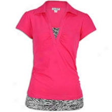 Southpole 2-fer Polo With Zebra Print - Womens - Shocking Pink