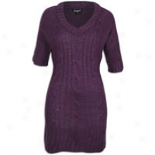 Southpole Acrylic Sweater Dress W/ Cowl Nk Scarf - Womens - Dark Purple
