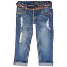 Southpole Belted Cropped Jean - Womens - Medium Sandblast