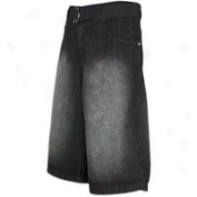 Southpole Belted Denim Shorts - Mens - Black Sandblast