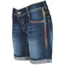 Southpole Bermuda Short W/ Multicolor Stitching - Womens - Dark Gravel Blue