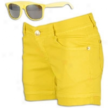 Southpole Bermuda Shorts W/ Free Sunglasses - Womens - Lemon Yellow