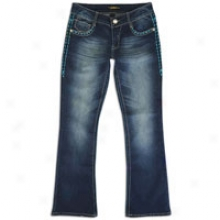 Southpole Bootcut Jeans W/ Color Detail - Womens - Pacific Blue