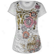 Southpole Burn Out Scoop Neck S/s T-shirt - Womens - White
