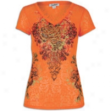 Southpole Burn Out V-neck S/s T-shirt - Womens - Tangerine