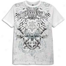 Sotuhpole Chevron Screen & Foil Print Ss T-shirt - Mems - Happy