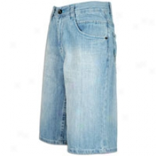 Southpole Cool Contrast Washed Denim Shorts - Mens - Light Blue Sand