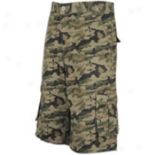 Southpole Cotton Twill 13.5in Cargo Short - Mens - Olive Camo Plaid