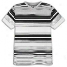 Southpole Engineered Stripe V-neck T-shirt - Mens - White